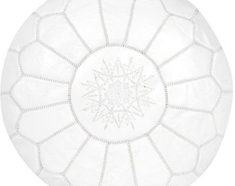 White Pouf made out of Natural Genuine leather 100% Leather Authentic Moroccan Pouf Handcraft