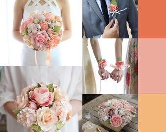 Bespoke Wedding Paper Flowers Set 5 : Bridal Package Bouquet, Buttonholes,Bridesmaid Bracelet,Bridesmaid Bouquet,Wedding Flower Centerpieces