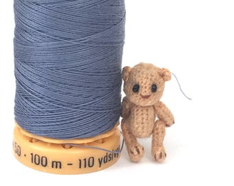 5/8 inch micro miniature crocheted bear made from thread