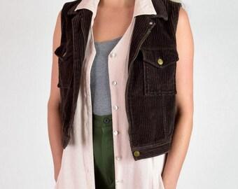 100% Cotton Dark Brown Wide Wale Corduroy Zip Vest