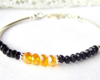 Yellow and black crystal bracelet / November birthstone / stacking bracelet / friendship bracelet / topaz crystal / unique / best friend