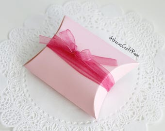 Pink Pillow Box, Baby Shower Pillow Box, Wedding Favors, Bridal Shower Gift Box