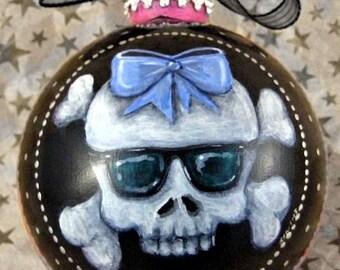 Pink Zebra Skull with Sunglasses Ornament-Girl Skull Ornament-Candy Stripe Skullz-Cute Skull Sunglasses Ornament-Skull Christmas Ornament