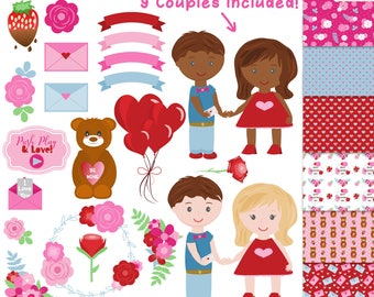 Valentines Clipart, Valentine's Day Clipart, Valentines Digital Papers, Romantic Graphics, Commercial Use Valentine Clip Art, Love Clipart