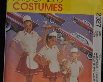 Car Hop Costume Pattern - Misses' Sm/Med/Large - UNCUT -McCall's 2327