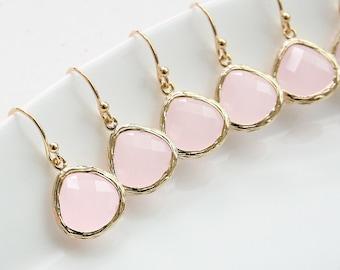 10%OFF, Bridesmaid gifts, Set of 7,8,9,10, Bridesmaid earrings, Dangle earrings, Drop earrings, Pink bridal earrings, Wedding gift earrings,