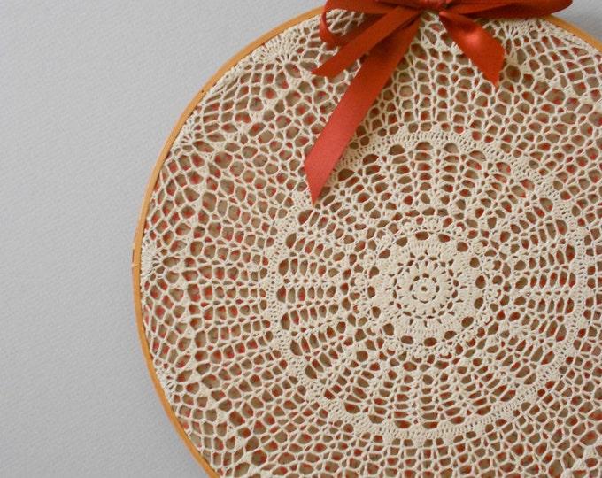 SALE / vintage bohemian large crochet embroidery doily hoop art // fiber wall hanging