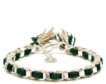 Silver bracelet with dark green and beige DMC pearl cotton