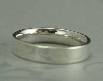 Comfort Fit Straight and Narrow Sterling Silver Flat Wedding Band--5mm Wide Flat Silver Band--Men's Silver Band