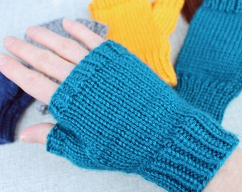 Fingerless Gloves, solid color finger-less mittens, for all sizes, men, women, children, toddlers, and babies