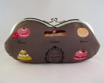 Chocolate Brown Macaron Eyeglass Case - Sunglass Case - Glasses Case - Soft Eyeglass Case - Sunglasses Case - Macaron Paris