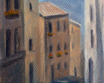 Buildings in Florence Street  Italy original ACEO oil painting by Elaine Farmer
