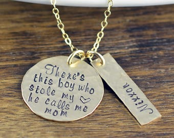 There's This Boy Who Stole My Heart He Calls Me Mom Necklace, Personalized Necklace, Gold Mother Necklace, Mommy Necklace, Mothers Day Gift