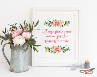Advice for Parents, Advice for Mommy, Advice for Daddy, Baby Shower Advice, Baby Shower Prints, Baby Shower Invitations, Floral Baby Shower