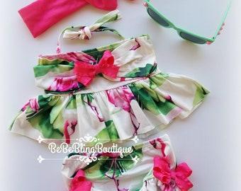 Baby girl swimsuit Infant girl swimwear Toddler bathing suit Girl beachwear Two piece suit Pink and green bikini baby girl shower gift set