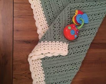 Ready to ship Hand made crochet Baby blanket. Modern style blanket. Adeline design car seat stroller