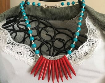 Memorial Day Necklace, Blue Red Necklace, Bib Necklace, Toggle Jewelry,Beaded Statement Jewelry,Beaded Fan Necklace, Beaded Necklace