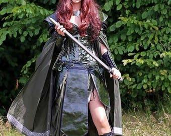 Women Armor leather larp elf bdsm underbust corset Bracelets pauldrons skirt warrior cosplay witch fantasy gothic fetish