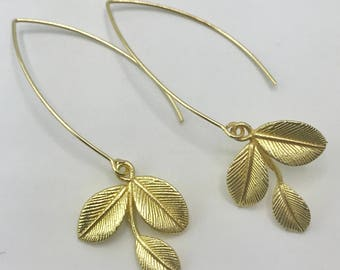 Gold Plate Long Earwires with Leaf Drops