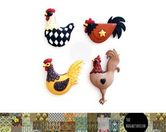 Hen Magnets [Chickens, Fridge Magnets, Fridge Magnet Sets, Refrigerator Magnets, Magnet Sets, Office Decor, Kitchen Decor, Magnetic Board]