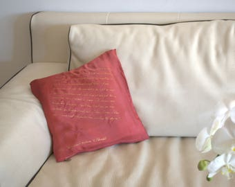 Pride and Prejudice Jane Austen quotes Darcy's proposal Decorative Silk Pillow Cover for Christmas Literary gift Hand Painted ready to ship