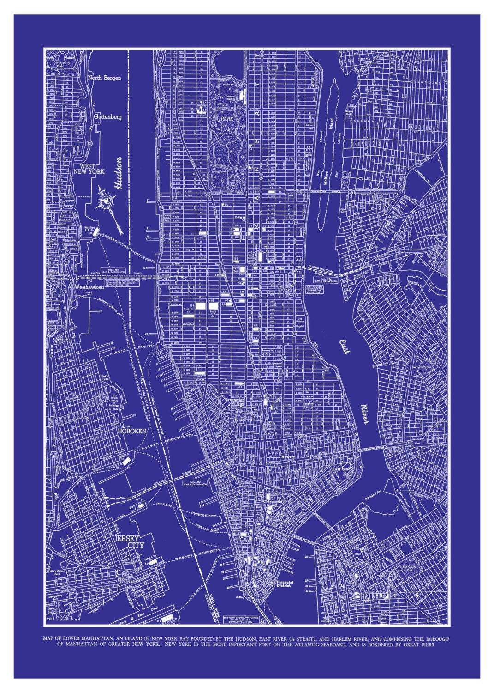 New york city map manhattan street map vintage blueprint zoom malvernweather Gallery
