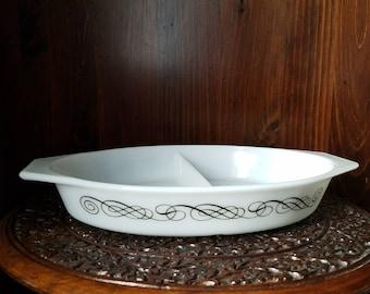 Vintage Pyrex Black Scroll Promotional Milk Glass Divided Dish