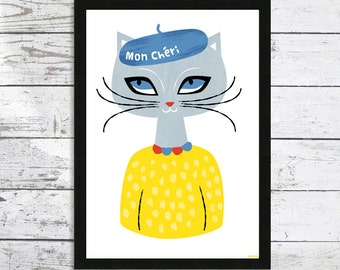 Cat in A hat Print - Mon Cheri In a Beret Giclee Cat print - Cat lover gift - Cats