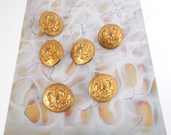 Six Vintage Buttons With Raised Eagle - Anchor - Stars Motif