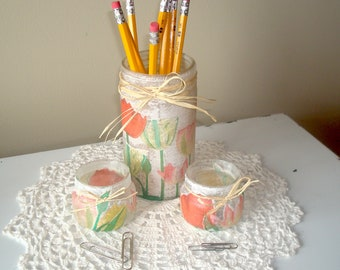 Pastel Floral Desk Accessory Set, Glass Jar Pencil Holder, Office Desk Decor, Decoupage Glass Jar, Dorm Decor - GJ002