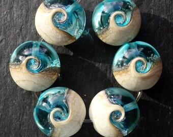 Lampwork Lentils (6) Ocean Wave Aquamarine