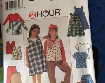 Simplicity Pattern # 7287 Girls 2 hour Jumper Top Vest Skirt and Pants