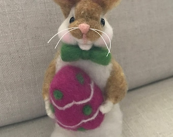 Wool needle felted Easter Bunny with purple egg, by Judi B Designs