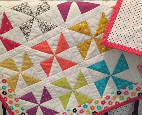Baby Pinwheel Quilt, Child Lap Quilt, Crib Quilt, Girl's Quilt, Colorful Quilt, Quiltsy Handmade