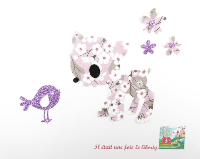 Iron on patch applied fusible Bambi liberty Mitsi liberty purple, bambi, bambi pattern, applied fusible bambi, iron on