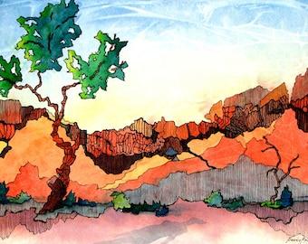 Utah, desert and mountain scene - Lone Tree 1   - a fine art GICLEE print of one of my paintings. Free U.S. shipping.