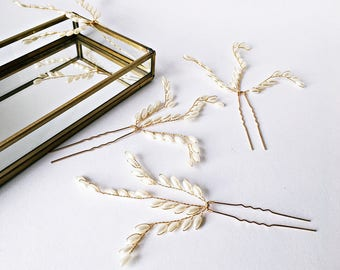4x beaded hairpins: Hair jewelry wedding in gold
