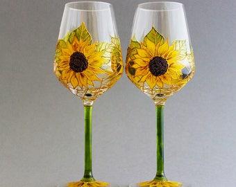 Sunflower Wedding Glasses, Rustic Wedding Glasses, Sunflower Wine Glasses, Sunflower themed wedding