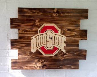 Ohio State Buckeyes painted wood sign- Man Cave Sign