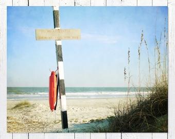 Coastal Decor Beach Photography | Nautical Wall Art | Ocean Waves, Blue Sky | Navy White Orange Beach House Decor | Large Wall Art Print