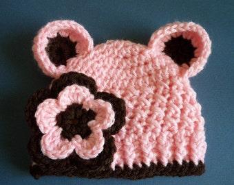 Baby Girl Hat , Newborn hat, Newborn Bear Hat, Baby Girl - In PInk and brown