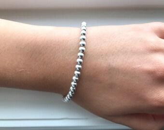 5mm Silver Ball Bead Bracelet Womens Sterling Silver Beaded Bracelet Ball Bead Bridal Bracelet 5mm Silver Bead Bracelet Silver Beads 5mm