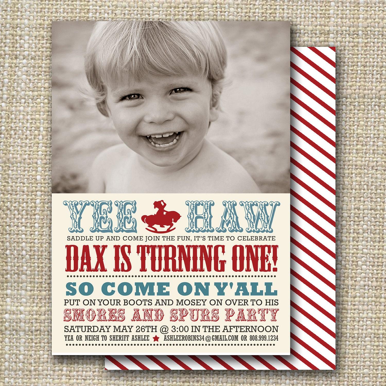 Cowboy Birthday Party Invitation Western Birthday Party - Cowboy birthday invitation template
