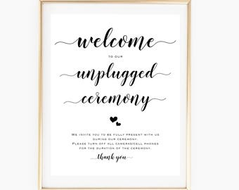 Printable Unplugged Ceremony Sign, Chalkboard Unplugged Wedding Sign, Rustic Wedding Decor, No Phones Sign Wedding