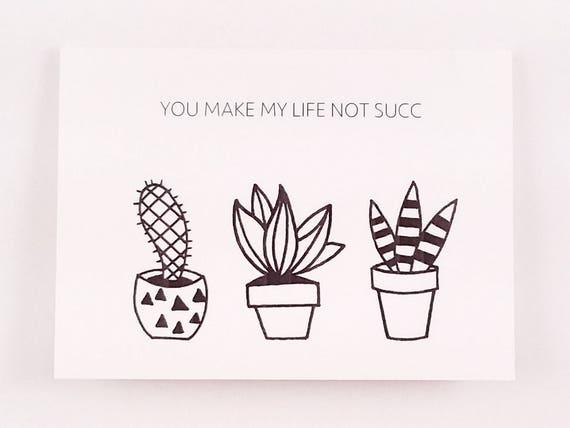 Lustige Freundschaftskarte / Kaktus Gruß Karte / saftig