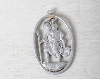Large Saint Christopher vintage religious Medal, St Christopher medal, Patron saint of travelers