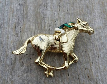 Gerry's Racehorse with Moveable Jockey Brooch