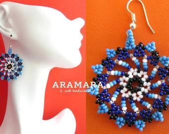 Round earring, Mandala Earrings, Mexican folk art, Mexican earrings, Mexican Jewelry, Native american earrings, Huichol Earrings, AR-0048