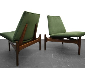 Pair of Mid-Century Sculptural Lounge Chairs by John Caldwell for Brown Saltman