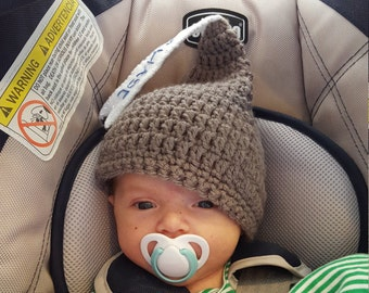Personalized Kisses Baby Hat, Crochet Hersheys Kisses Gray or Brown Baby Cap MADE TO ORDER by Charlene, Photo Prop, Twins or Triplets Beanie